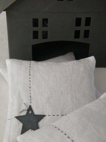 coussin, lin, tissu, couture, appliqué, broderie, décoration, étoile, salon, chambre