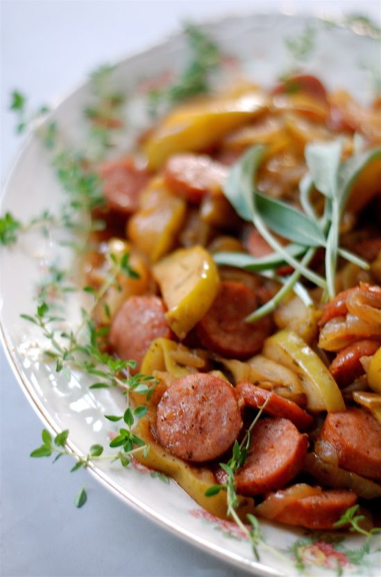 BROWN SUGAR KIELBASA WITH APPLES & ONIONS ~ A WONDERFUL MEAL FOR OKTOBERFEST!