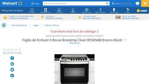 [Wal-Mart] Fogão de Embutir 6 Bocas Brastemp Clean BYS6NAB Branco Bivolt 884216 - de R$ 1.317,54 por R$ 1.088,96 (17% de desconto)