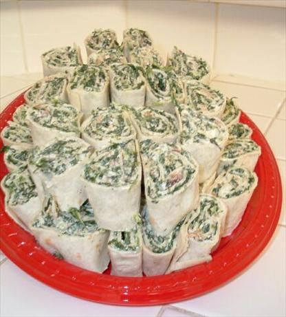 Spinach Roll Ups - lighten up with Greek yogurt, flat out bread, turkey bacon?