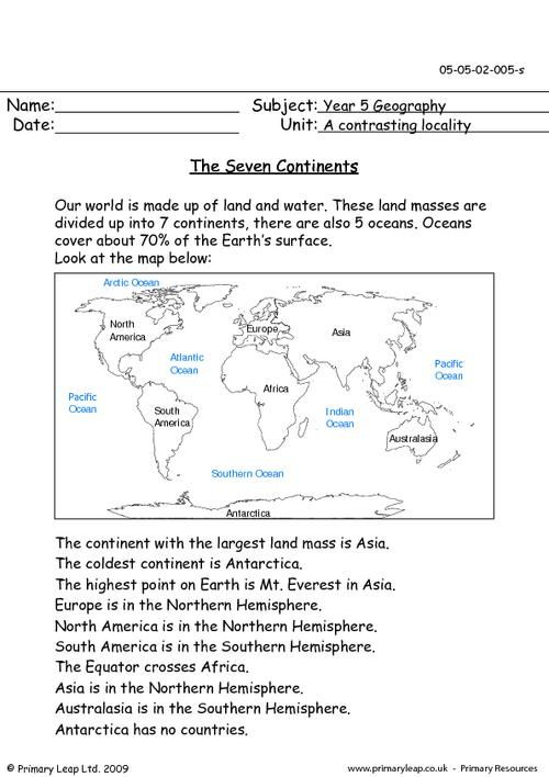 Primaryleap Co Uk The Seven Continents Worksheet