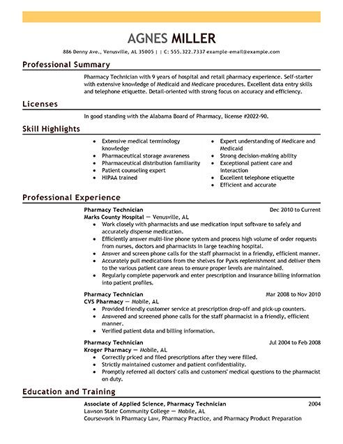 10 best Resume Samples for Job images on Pinterest Resume, Entry - pharmacy technician resume template