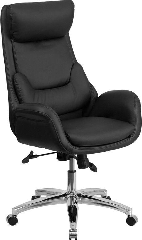 This contemporary office chair features fully upholstered arms and an outer lumbar pillow that provides excellent support. Finding a comfortable chair is essential when sitting for long periods at a t