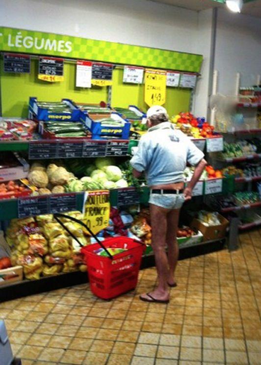 No Way Girl - Bikini Shorts at Walmart - Old Guy Short Shorts with No Butt WTF - Funny Pictures at Walmart
