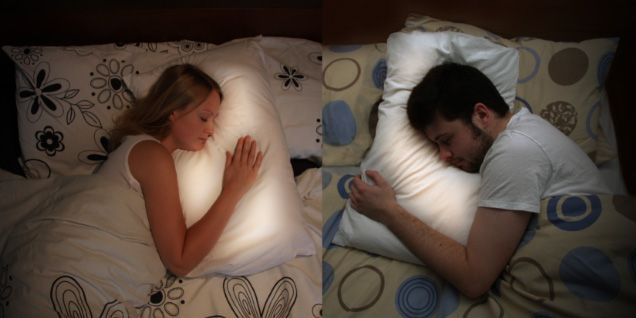 Pillow Talk! Long distance lovers wear rings that transmit their heartbeat to ea other's pillows at night. When your sweetheart is near his pillow, YOUR pillow will glow! Must. Have.