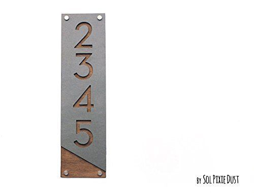Amazon com: Modern House Numbers, Concrete with Wood