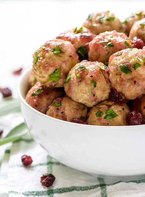 Cranberry Turkey Meatballs with a Maple Cranberry Apple Sauce. Perfect ...
