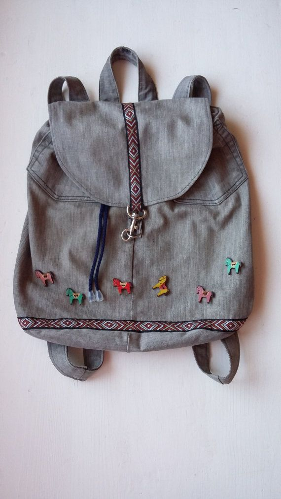 Sweet Denim Backpack for Girls / Cute Christmas Gift / Teenage Backpack with Horses / Fashion Christmas Gift for Teenage Girls