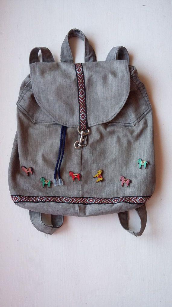 Sweet Denim Backpack for Girls / Cute Christmas Gift / Teenage Backpack with Horses / Fashion Christmas Gift for Teenage Girls