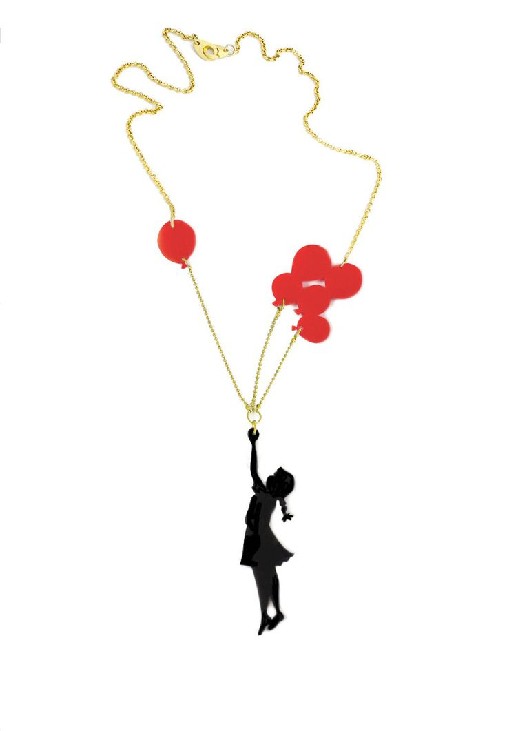 Girl with Baloons, Black & red plexiglass (perspex) necklace, Girl with balloons, laser cut jewelry. by lilianadesign on Etsy https://www.etsy.com/listing/237875079/girl-with-baloons-black-red-plexiglass