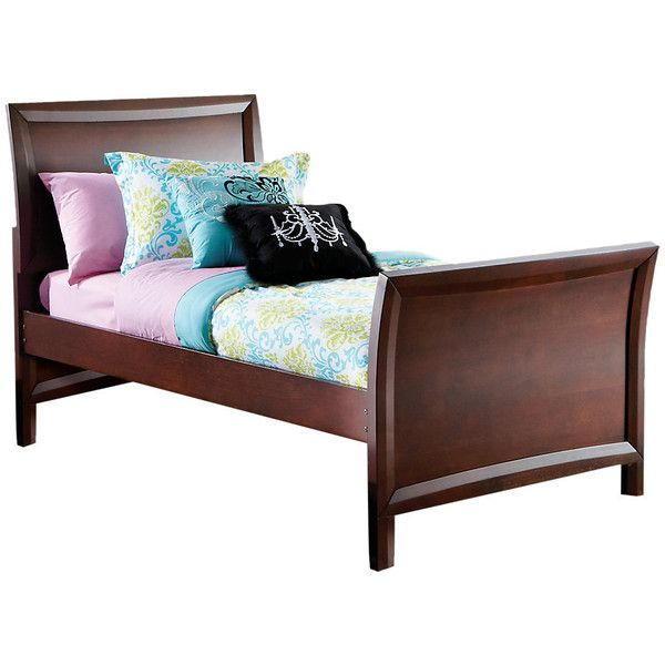 Ivy League Cherry 3 Pc Twin Sleigh Bed ($344) ❤ liked on Polyvore featuring home, furniture, beds, cherry wood sleigh bed, cherry sleigh bed, twin cherry sleigh bed, twin sleigh bed and cherry furniture