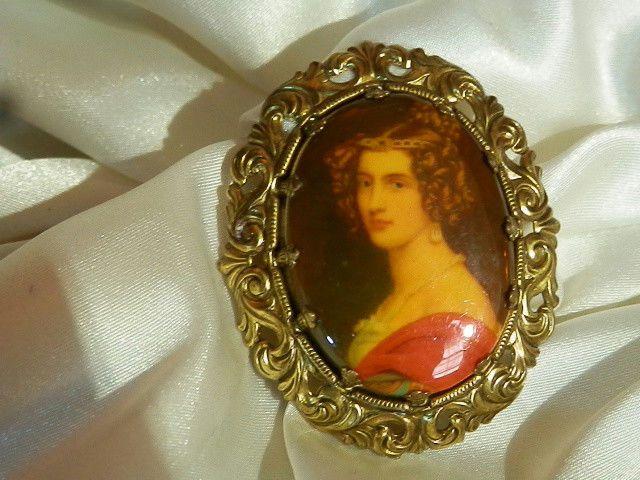 West Germany Vintage 50's Very Beautiful Woman Cameo XX Ornate Oval Brooch 90J8    eBay