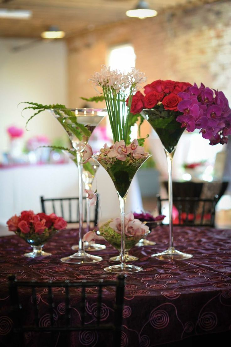 Flowers in a martini glass vibrant
