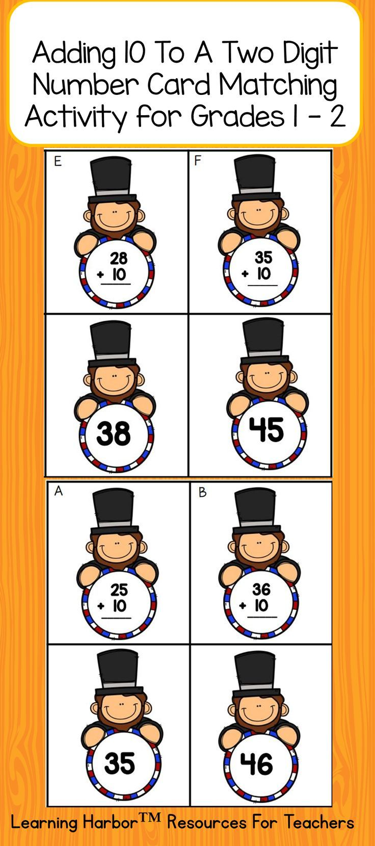 Do you need an activity for a guided math group, math center, or math station that focuses on adding ten to a two digit number? Engage your students with this Abraham Lincoln Themed matching game. Students solve the problem and match it to the sum.