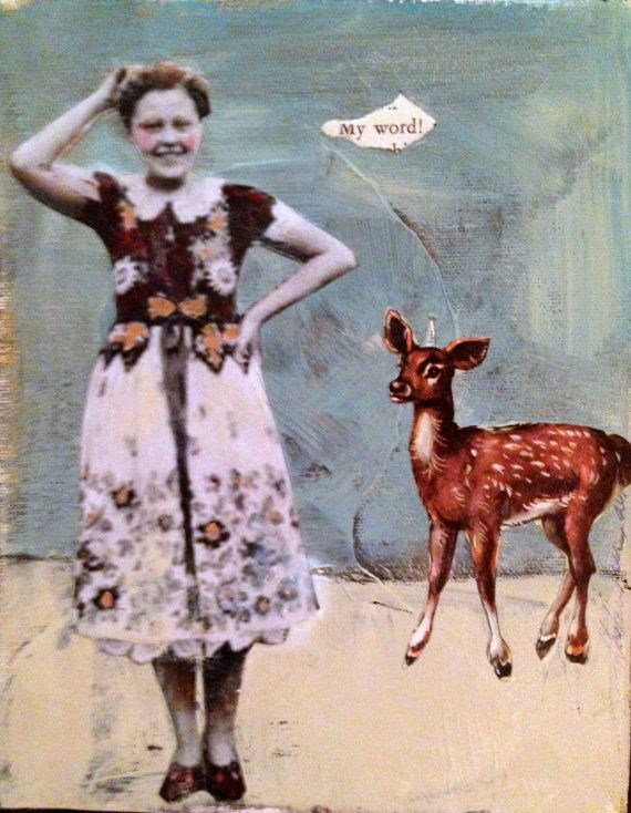 My Word whimsical  vintage woman with fawn original  mixed media painting by MaudstarrArt..aka Heather Murray