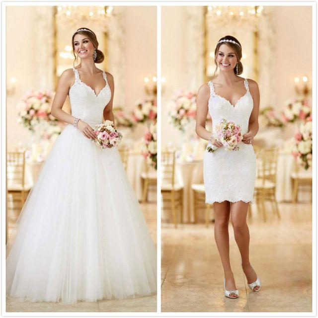 Vestido de Noiva Curto Tulle Wedding Detachable Skirt abiti da sposa Princess Wedding Gowns Boho Wedding Dress Two Piece Wedding