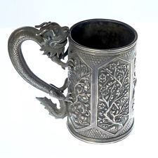 Genuine Antique Chinese Export Silver Dragon Tankard