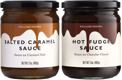Williams-Sonoma Ice Cream Sauces: A simple, engaging solution for ice cream sauces with a graphic image of sauce running down the label over the type, almost making you want to lick the jar. This design had an immediate impact on sales and drove the summer ice cream feature launch.  |  Designer:  Sarah Hingston  |  shingston.com