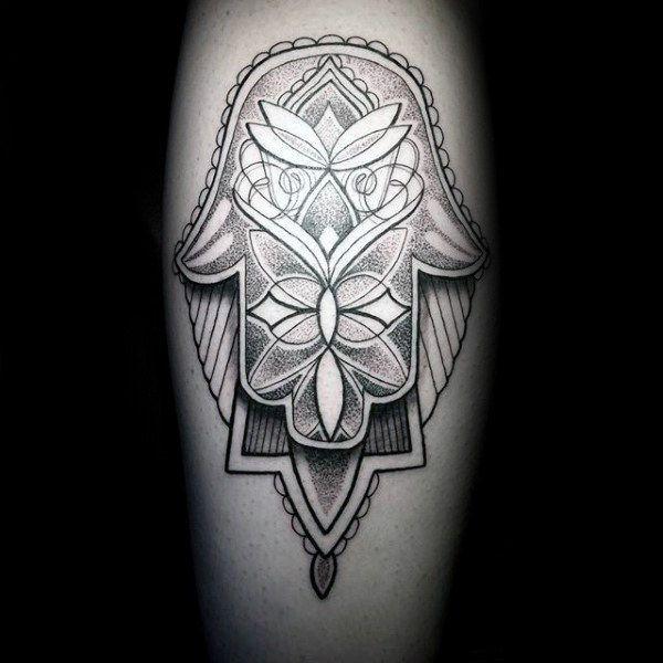 3d Hamsa With Shadow And Pattern Mens Leg Tattoos