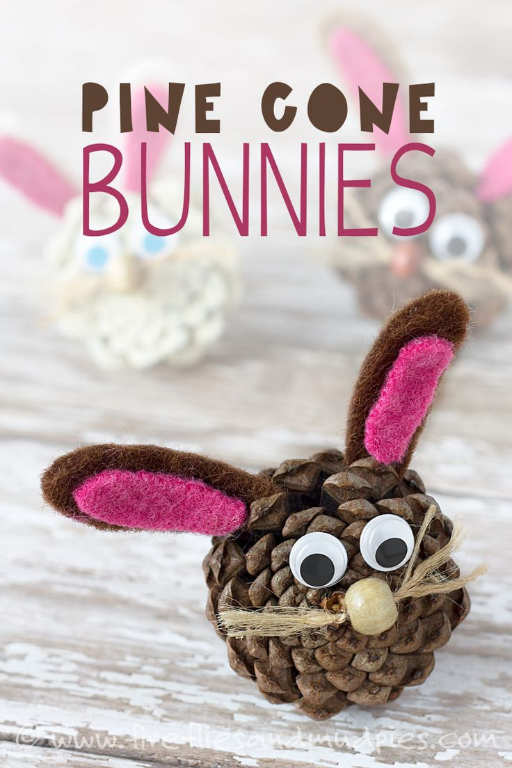 Easter bunnies ... adorable pine cone bunnies you can make with the kids