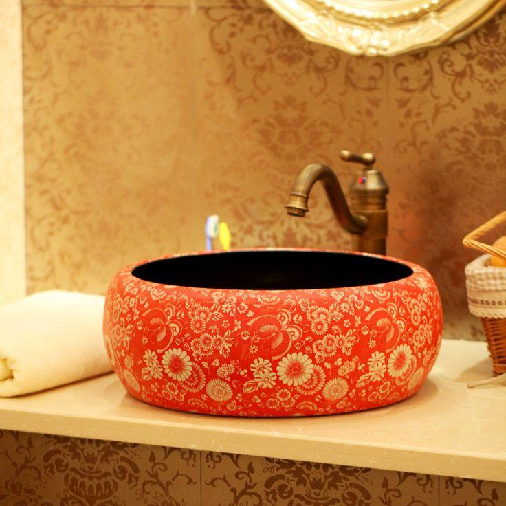 Ceramic wash basin counter basin art basin vintage handmade round kitchen sink 1202(China (Mainland))