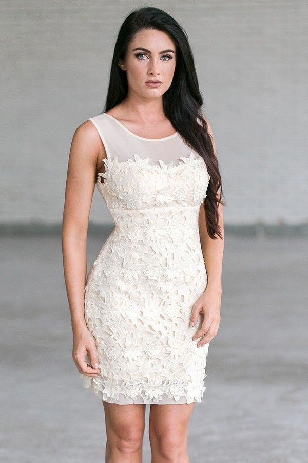 Lily Boutique The Crochet Lace Mesh Illusion Neckline Dress in Vanilla, $46 Ivory lace Sheath Dress, Cute Rehearsal Dinner Dress, Bridal Shower Dress www.lilyboutique.com