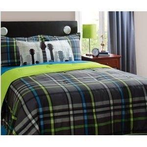 Gray, Blue & Green Guitar Rockstar Full Comforter...