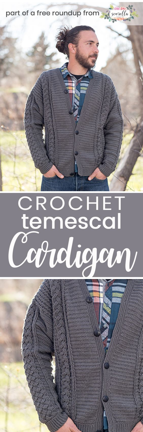 Get the free crochet pattern for this Crochet Temescal Cardigan Sweater from Interweave featured in my husband-approved crochet sweaters for men FREE pattern roundup!