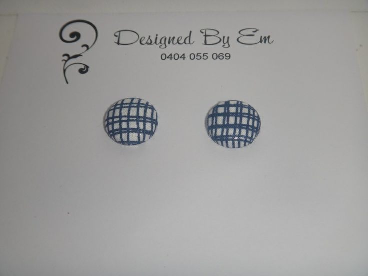 Designed by Em — Fabric covered button earrings - Lime Lines