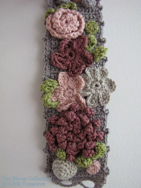 Blooming crochet bracelet  crocheted array of flowers  by sewella, $26.00