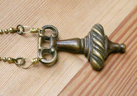Boho Door Knocker Pendant Upcycled Hardware Vintage Brass