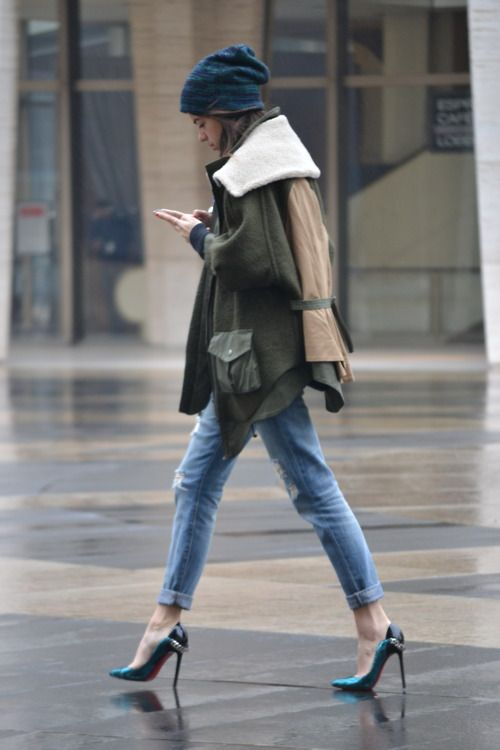 Leandra Medine, pumps, demin, cap, green jacket, winter jacket, oversize