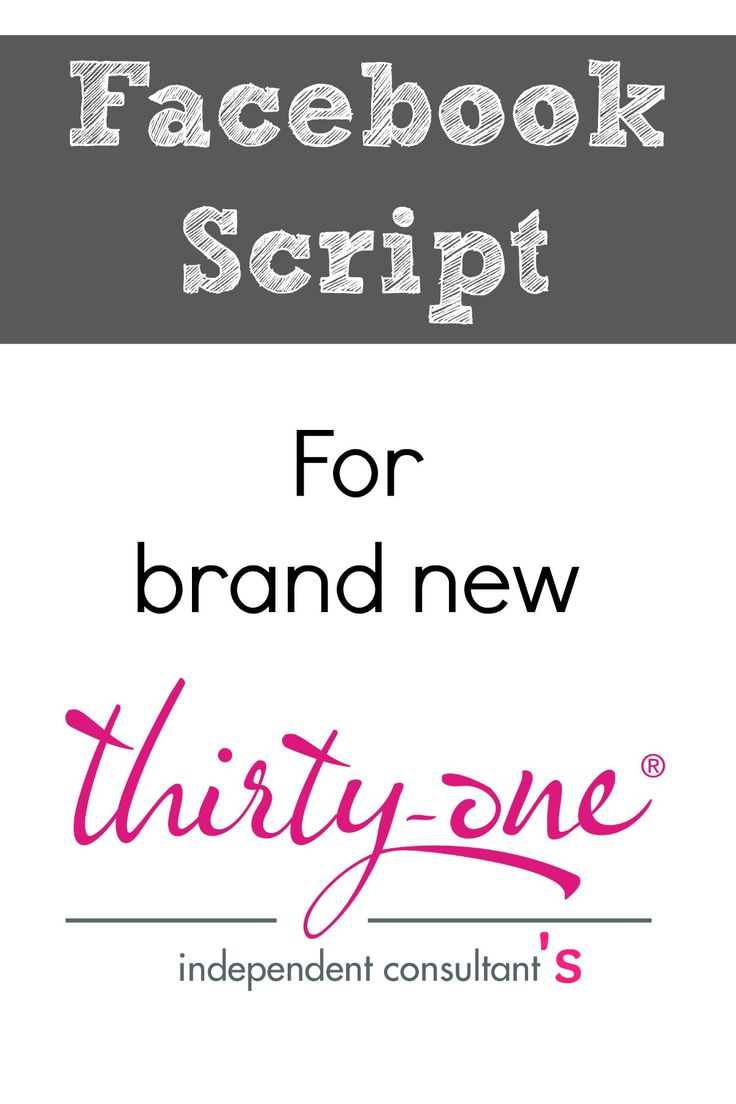 Here's a Facebook Script for brand new Thirty-One consultants to use. This makes…