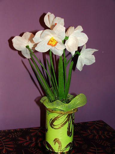 Narcyzy z bibuły Crepe paper Narcissus