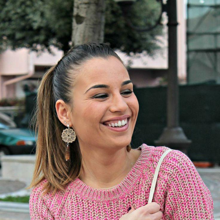 Pink & Beige #earrings worn by @Sara Mustone Atelier Dream Shabby Chic | PashionVictim