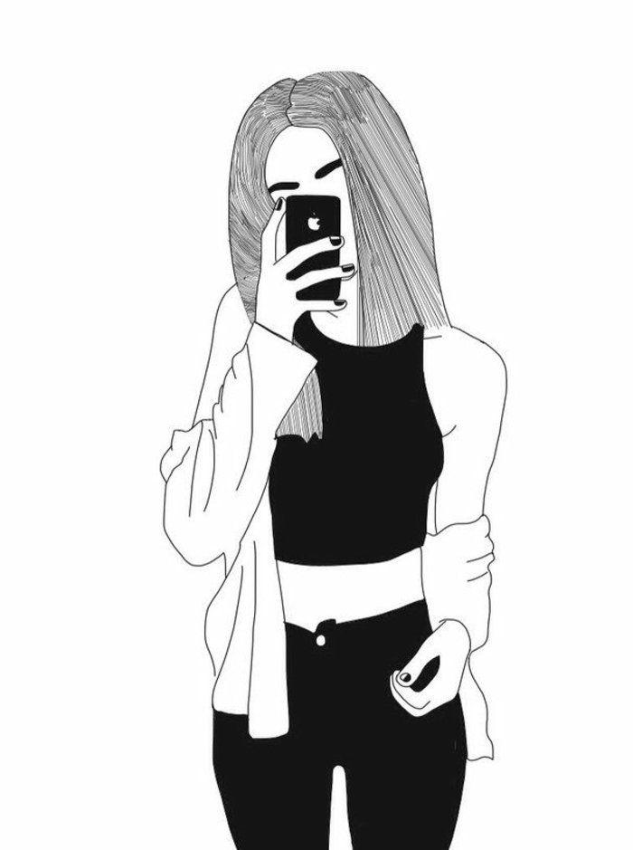 Dessin Fille Noir Et Blanc : dessin, fille, blanc, Photos, Dessin, Blanc, Aider, Améliorer, Votre, Technique, Blanc,, Hipster, Drawing,, Photo