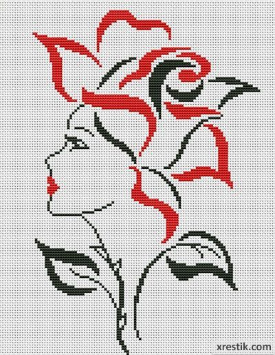 Devushka-tsvetok-400 Схема для вышивки scheme for cross stitch