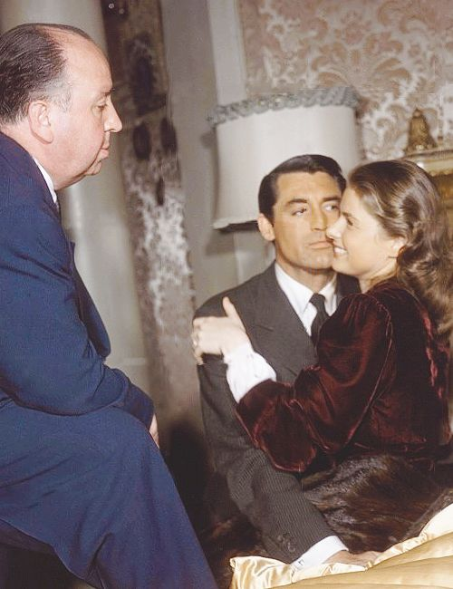 """Alfred Hitchock, Cary Grant and Ingrid Bergman on set of """"Notorious"""" (1946)"""