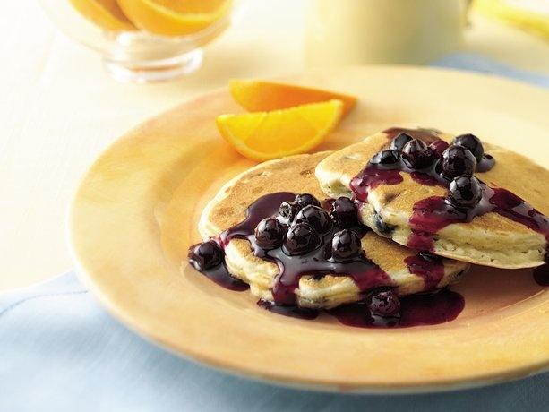 Blueberry-Orange Pancakes with Blueberry-Orange Sauce: Blueberries Pancakes Bisquick, Recipe, Blueberryorang Pancakes, Blueberry Orange Pancakes, Blueberries Orange Sauces, Blueberryorang Sauces, Fruit Sauces, Blueberries Orange Pancakes, Blueberry Orange Sauces