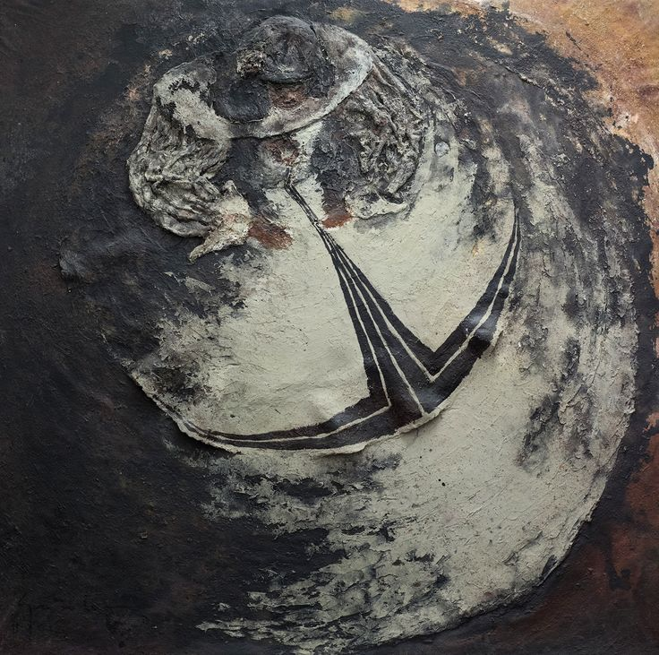 "Picture: ""Round menina"". Dimensions: 190 cm (W) x 190 cm (H). Mixed technique: latex, rush, sand, pigments, acrylic painting on canvas support."