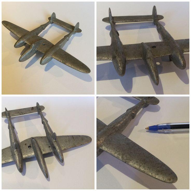 Vintage metal plane. Lightening P-38 Fighter WWII