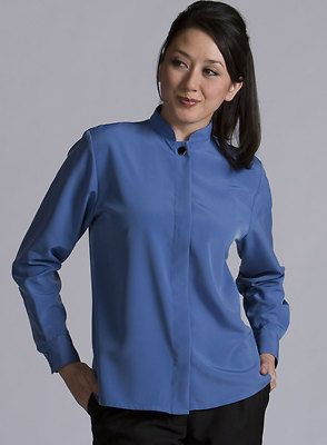 Women's Soft Silky Neru Collar Durable Casino Shirt. 5397 Description  100% Microfiber; 5.25 oz. wt, Silk-like softness, microfiber durability, Nehru collar and covered placket, Squared-tail hem with side vent, Long sleeve, two vertical buttons on cuff, Laundry friendly and wrinkle resistant.