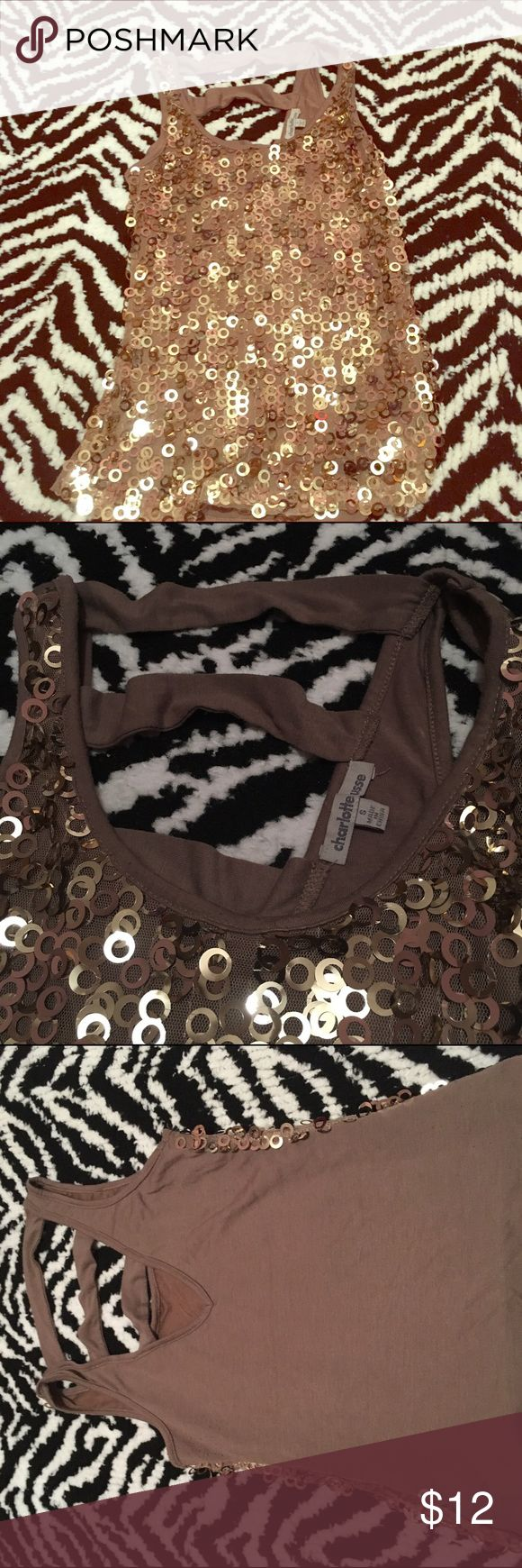 Charlotte rousse tank Gold sequin tank with cute opening in the back💕 Charlotte Russe Tops Tank Tops