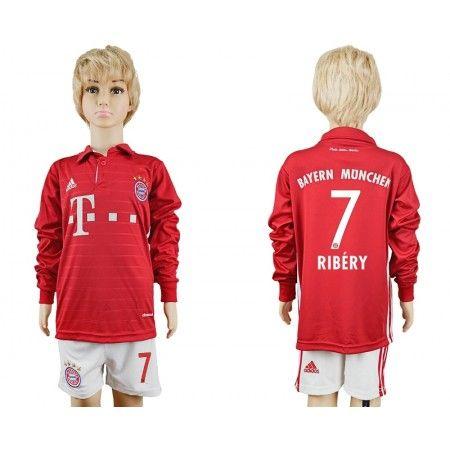 Bayern München Trøje Børn 16-17 Franck #Ribery 7 Hjemmebanetrøje Lange ærmer.222,01KR.shirtshopservice@gmail.com