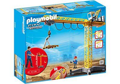 Grande grue de chantier radio-commandée de Playmobil Réf : 5466 moins cher en ligne. Piles : 6 piles 1,5V AA ,  Dimension : 69 x 32 x 77 ,  Age : 5 ans . Comparez son prix chez 5 vendeurs en ligne :  King Jouet,Shopping,Kelkoo,Amazon,Priceminister.