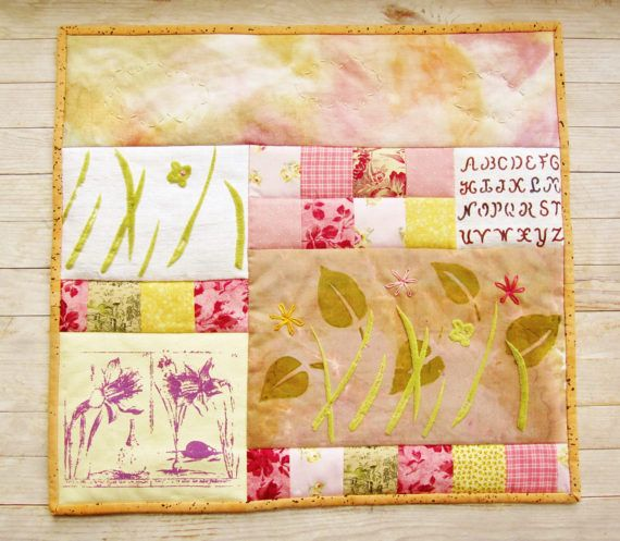Art quilt wall hanging spring flowers narcissus patchwork