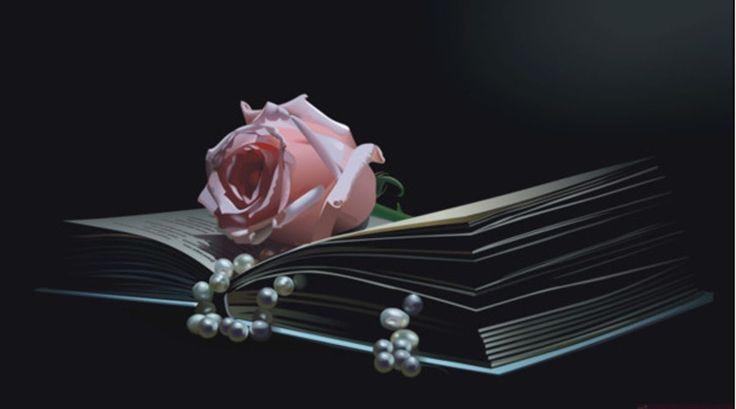 GRAFICOS PUNTO DE CRUZ GRATIS : FLORES(52) Delicada rosa sobre libro