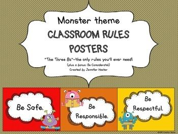 These monster theme posters show the Three Bs--the only classroom rules you'll need!   *Be Safe *Be Responsible *Be Respectful  Bonus Posters have been added in as special requests from my customers:  *Be Considerate *Be Resourceful  Students will love the whimsical monster characters promoting good behavior.