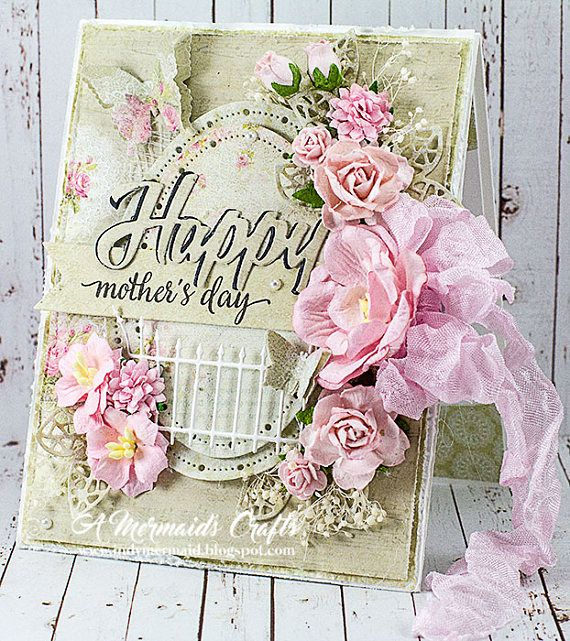 Beautifully detailed handmade shabby chic Mothers Day crd. The card was made with premium papers, the edges lightly distressed, and high-quality embellishments. A sweet card for a special Mom!! The interior is blank so you can add your own personal message. The card measures 4 ¼ x 5