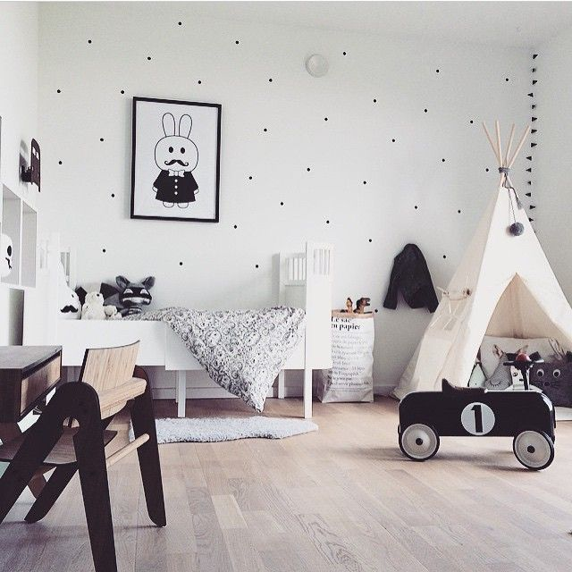 Scandinavian Nursery Design | Nordic kid's room in black and white - Photo via…